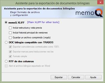 Exportación de documentos bilingües en memoQ