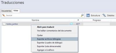 Exportación de vistas como archivos bilingües en memoQ
